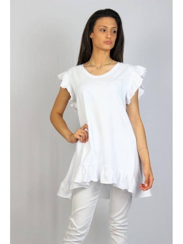 Асиметрична памучна туника с къдри бяла