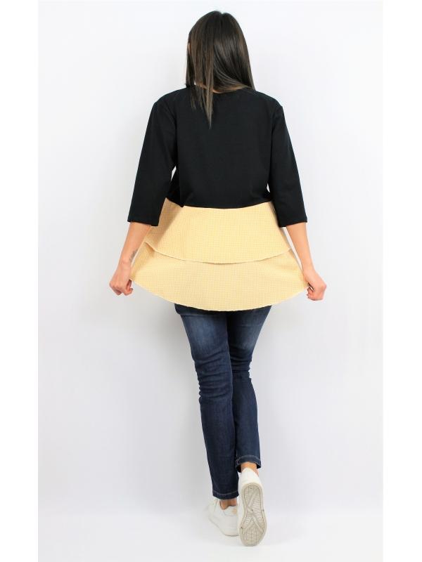 Туника - блуза с жълти волани