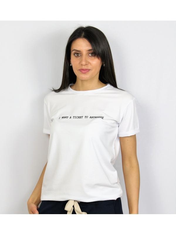 Тениска памук бяла
