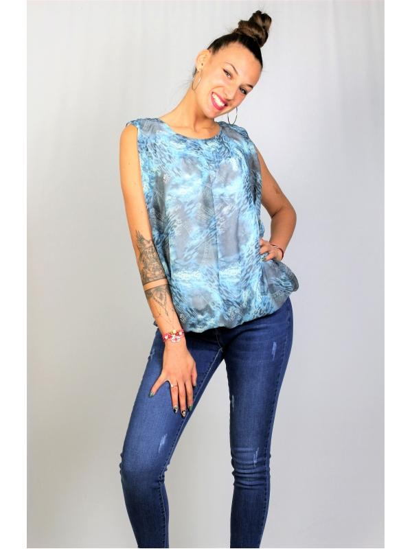 Блуза шифон дънков принт