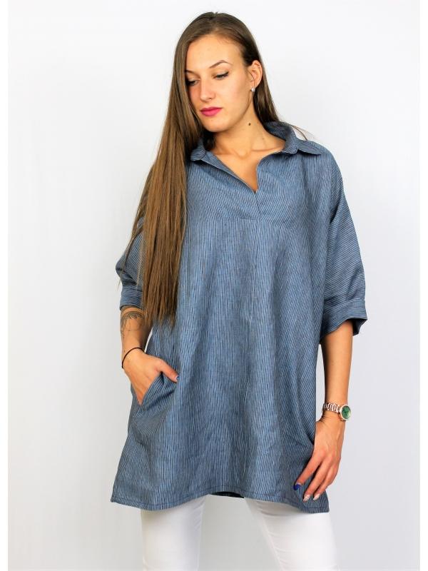 Риза лен синьо райе
