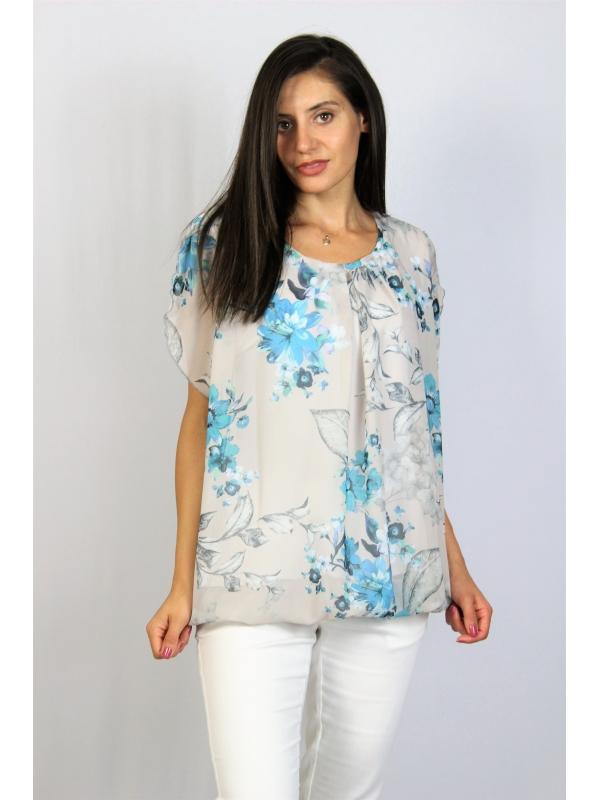Блуза балон цветя сини
