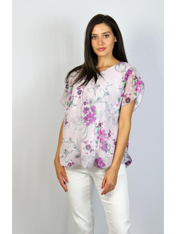 Блуза балон цветя лилави