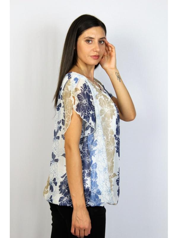 Блуза балон синьо и бежево