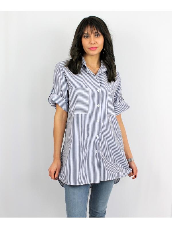 Риза тъмно синьо райе