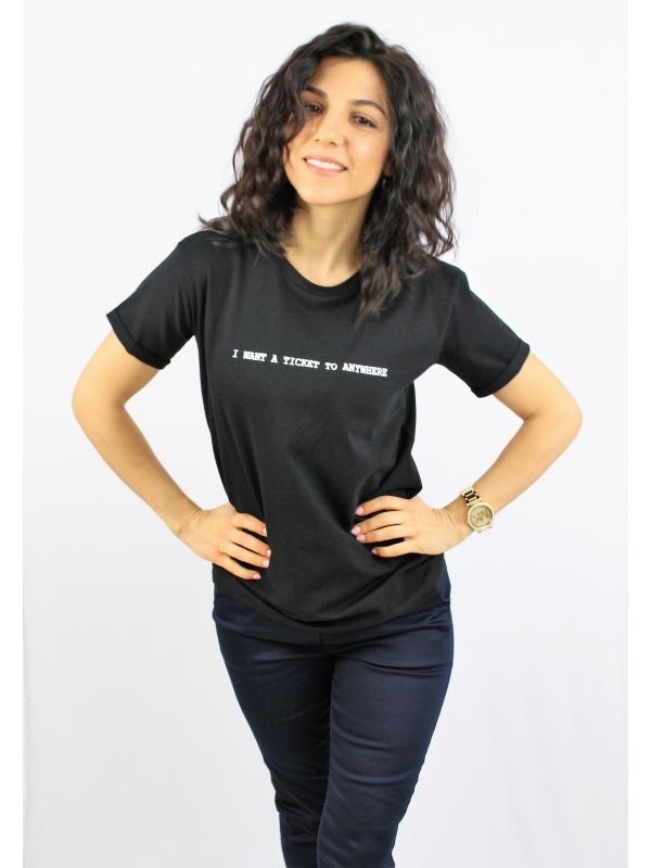 Тениска памук черна