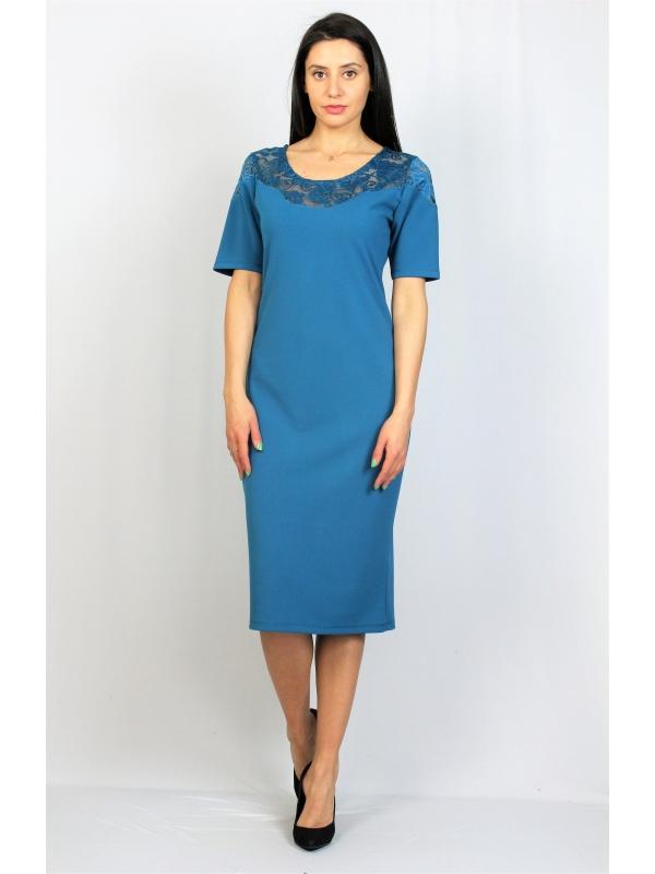 Права рокля петрол с дантела