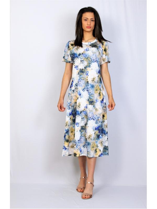 Разкроена рокля цветя бяла
