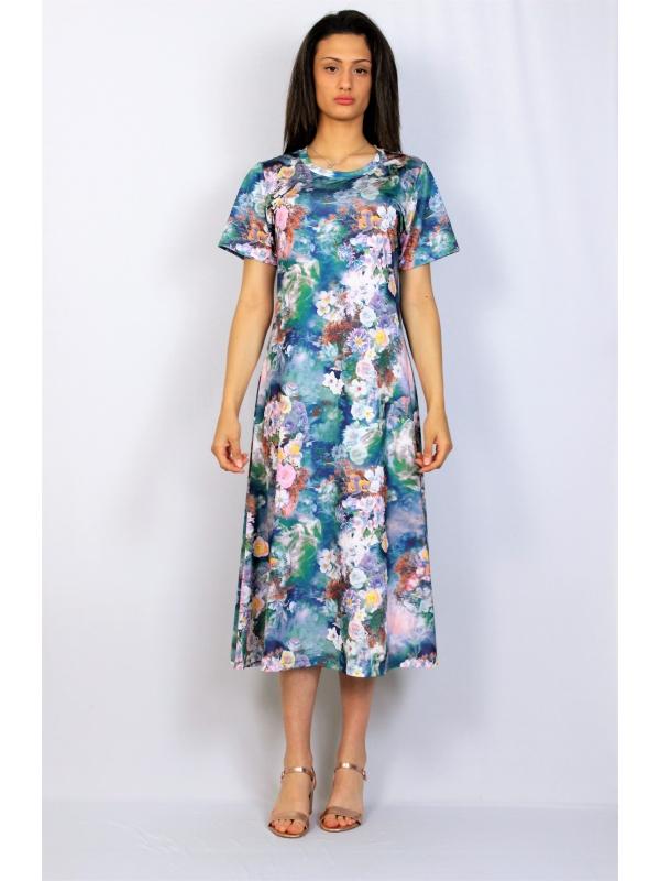 Разкроена рокля цветя синя