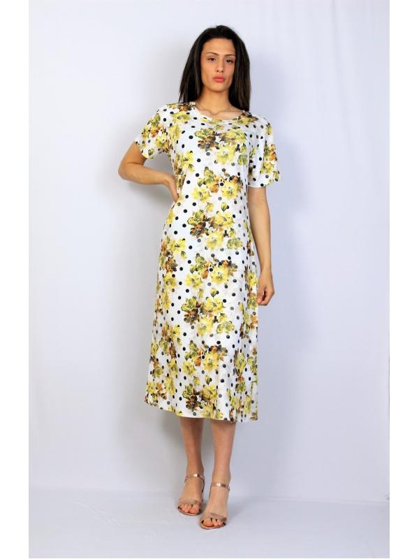 Разкроена рокля точки жълта