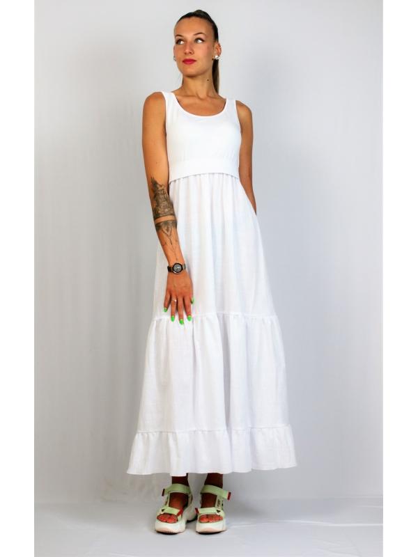 Дълга рокля с къдри бяла