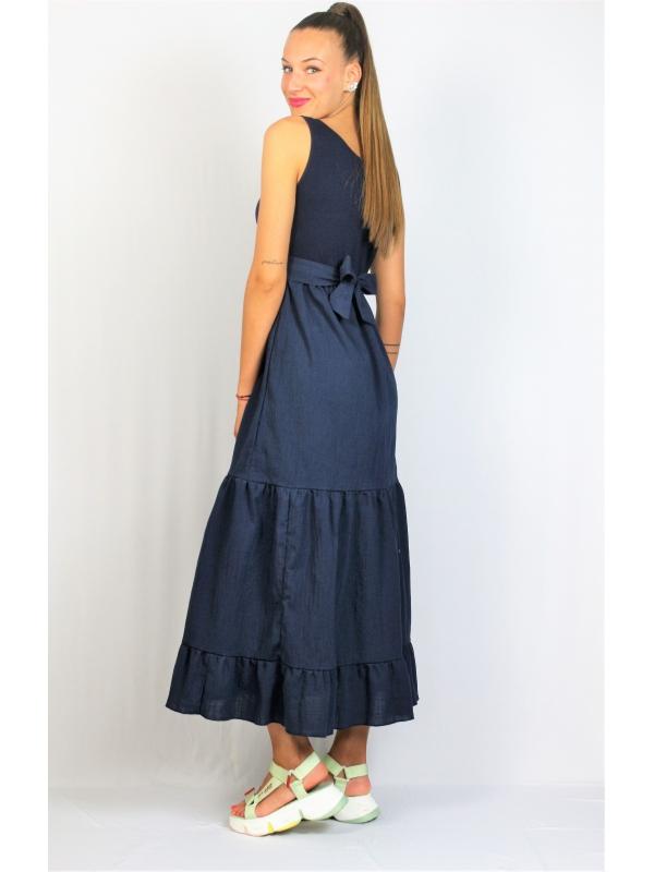 Дълга рокля с къдри тъмносиня
