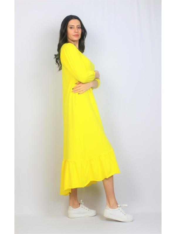 Рокля памук с къдра жълта