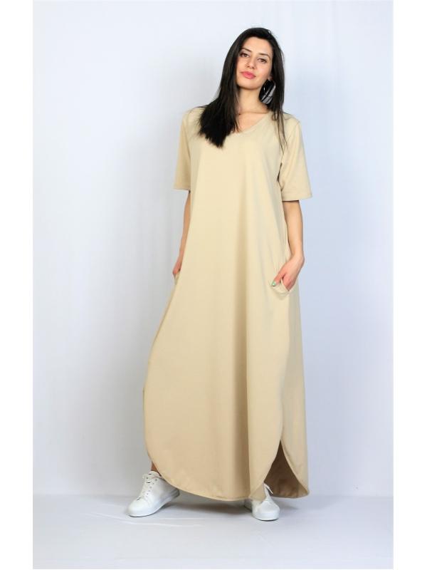 Дълга памучна рокля бежова