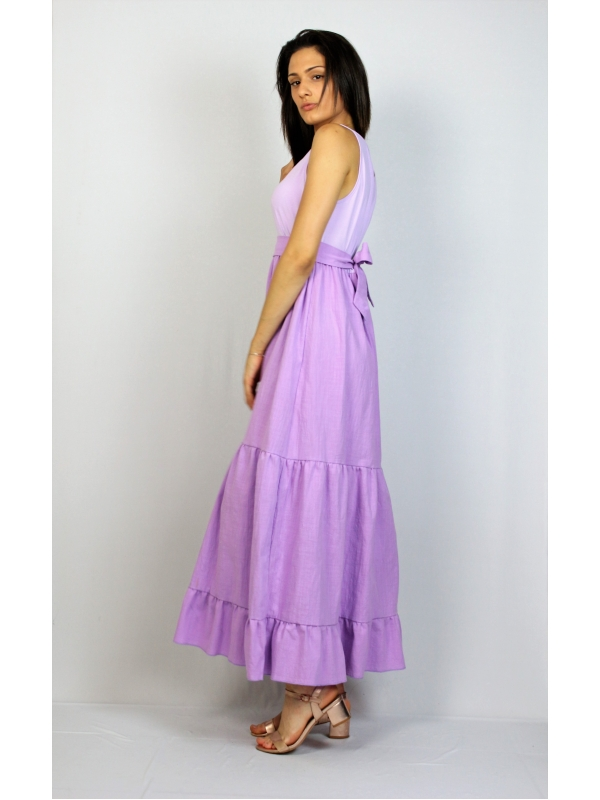 Дълга рокля с къдри лилава