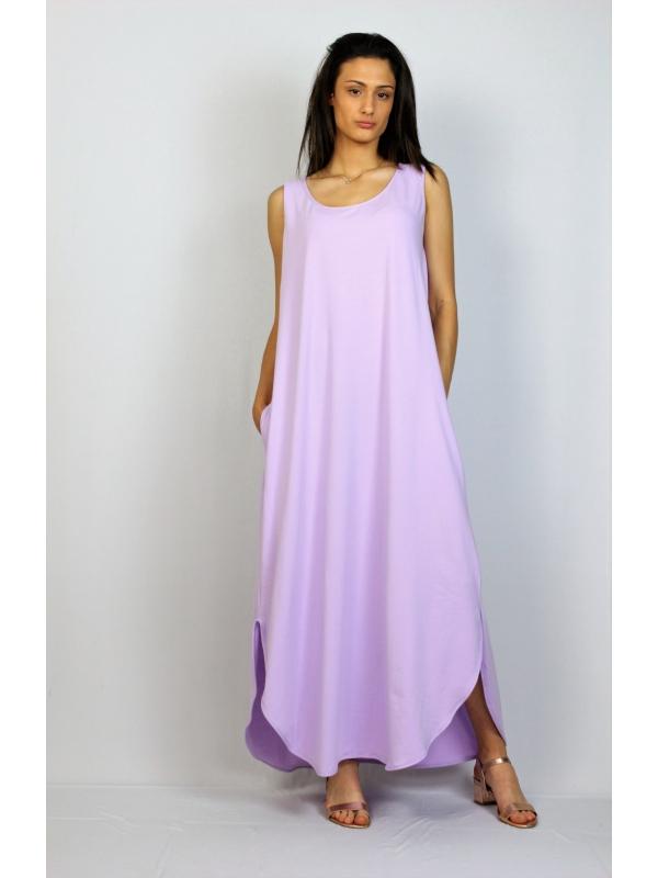 Дълга памучна рокля без ръкав лилава