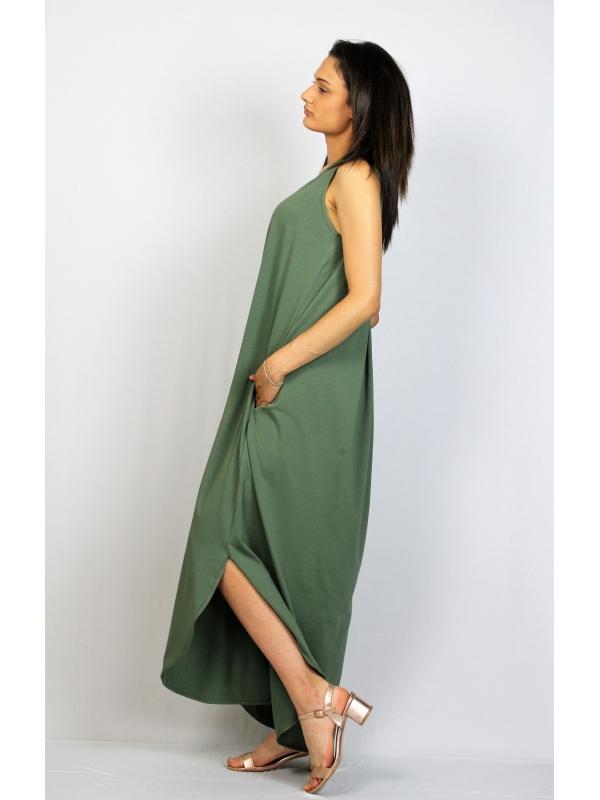 Дълга памучна рокля без ръкав зелена