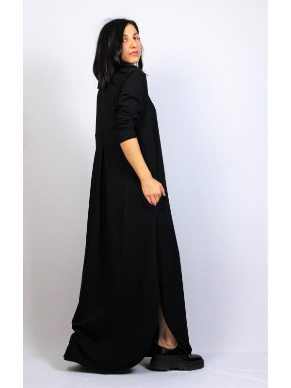 Дълга рокля памук черна