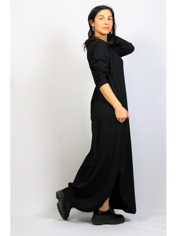 Дълга рокля памук черна с дълъг ръкав