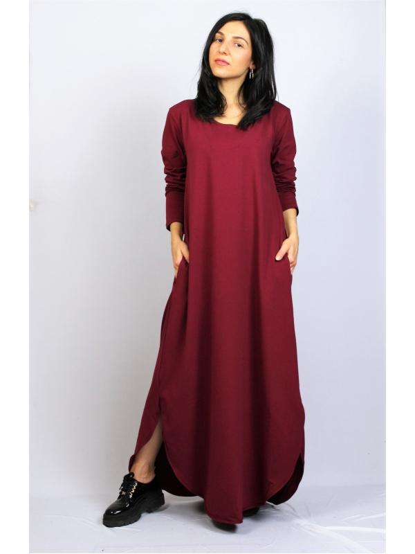 Дълга рокля памук бордо
