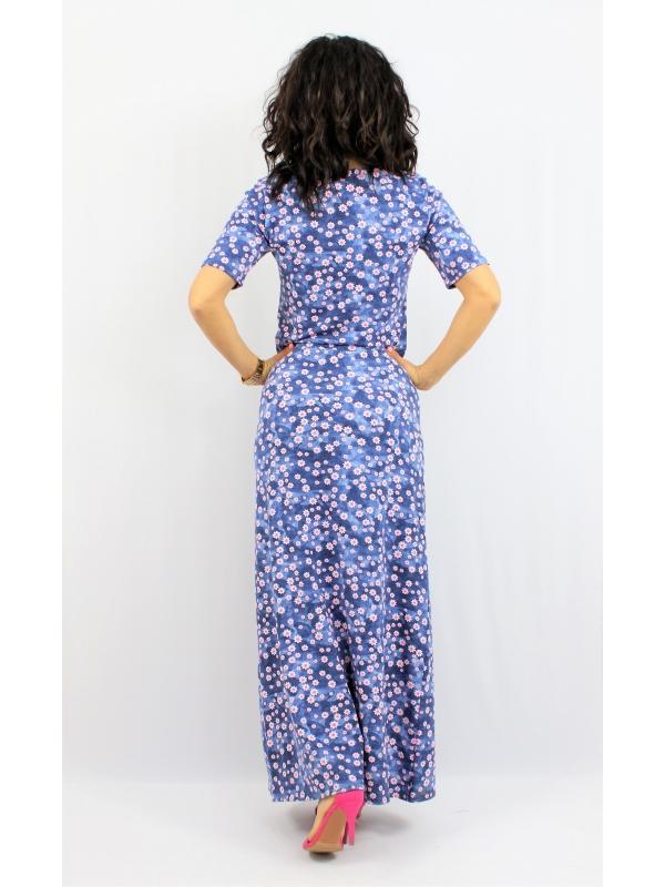 Дълга памучна рокля цветя