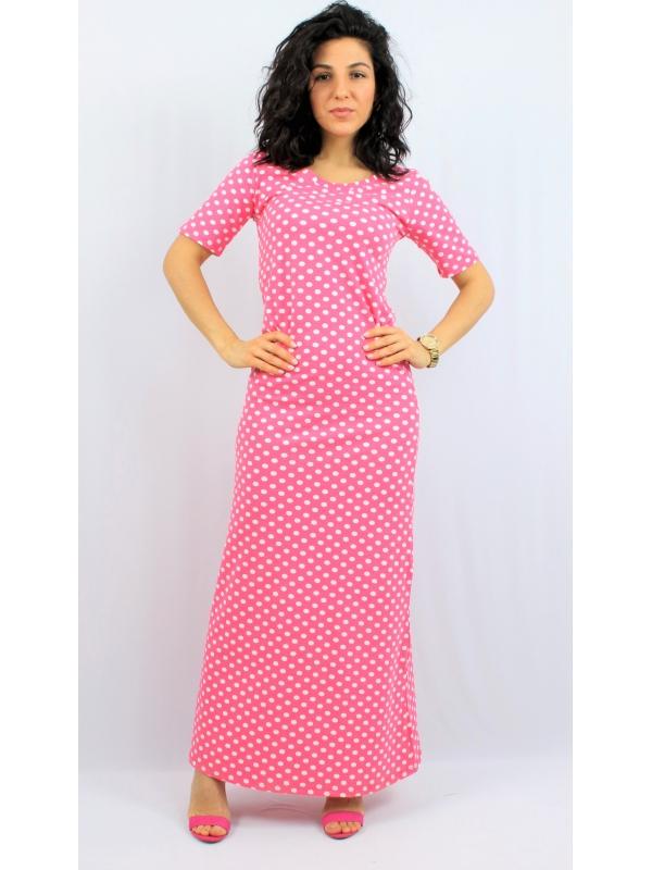 Дълга памучна рокля точки