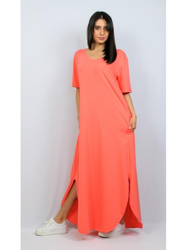 Дълга памучна рокля светъл корал
