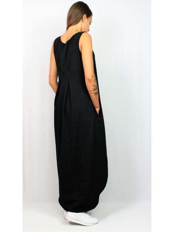 Дълга рокля без ръкав черна