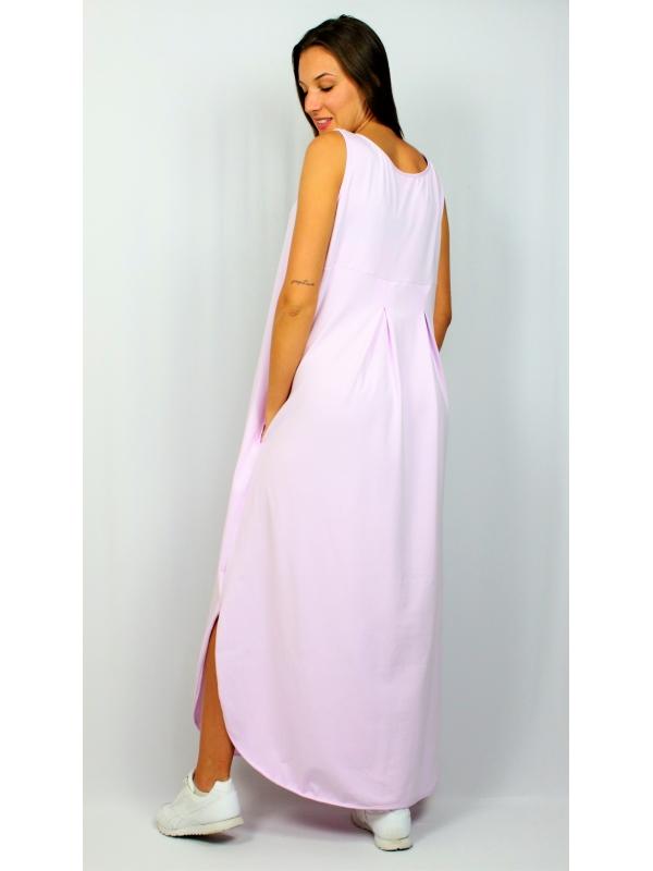 Дълга рокля без ръкав светло лилаво