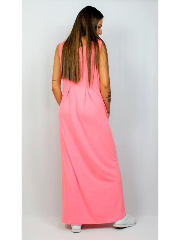Дълга рокля без ръкав розов меланж