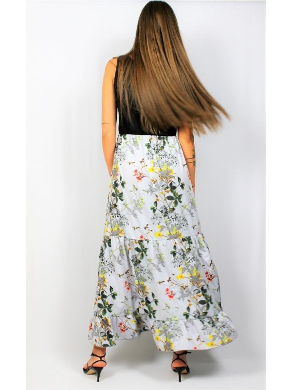 Дълга рокля с къдри  сиво цветя
