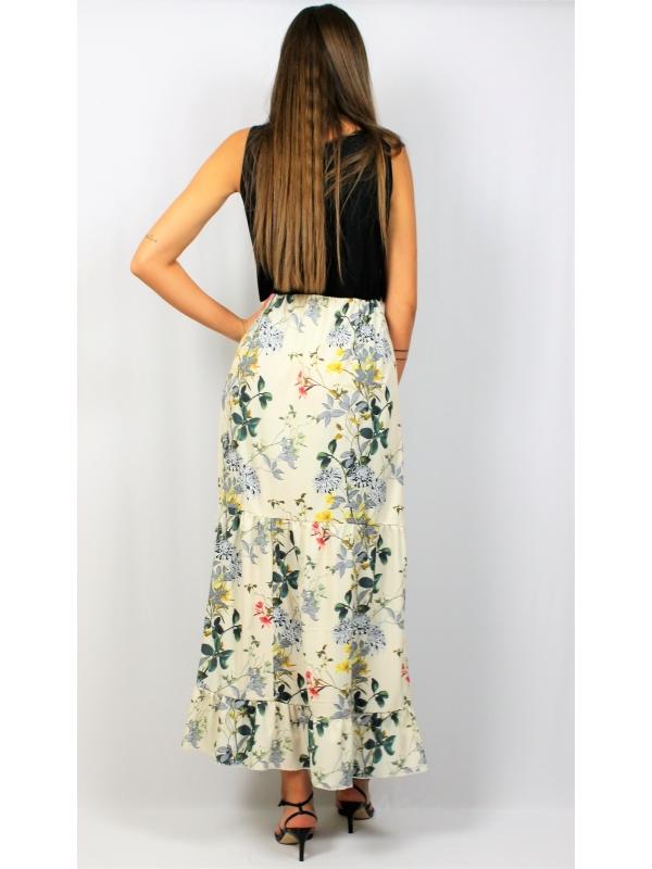 Дълга рокля с къдри жълто цветя