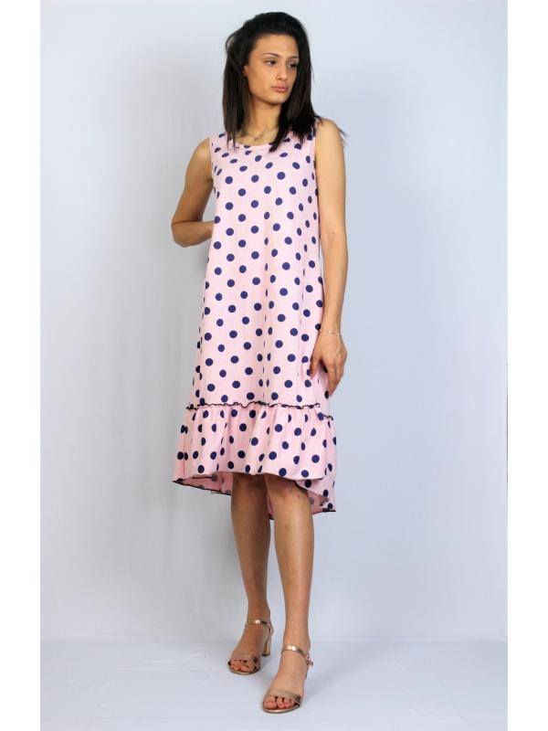 Асиметрична памучна рокля точки