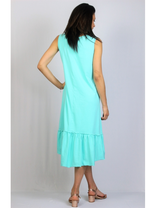 Асиметрична памучна рокля мента