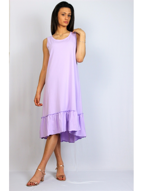 Асиметрична памучна рокля лилава