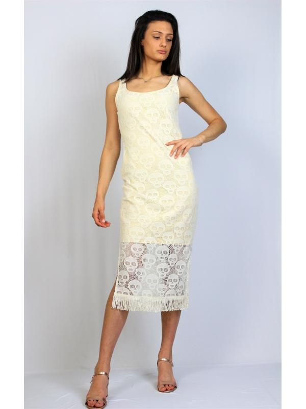 Дантелена рокля с ресни