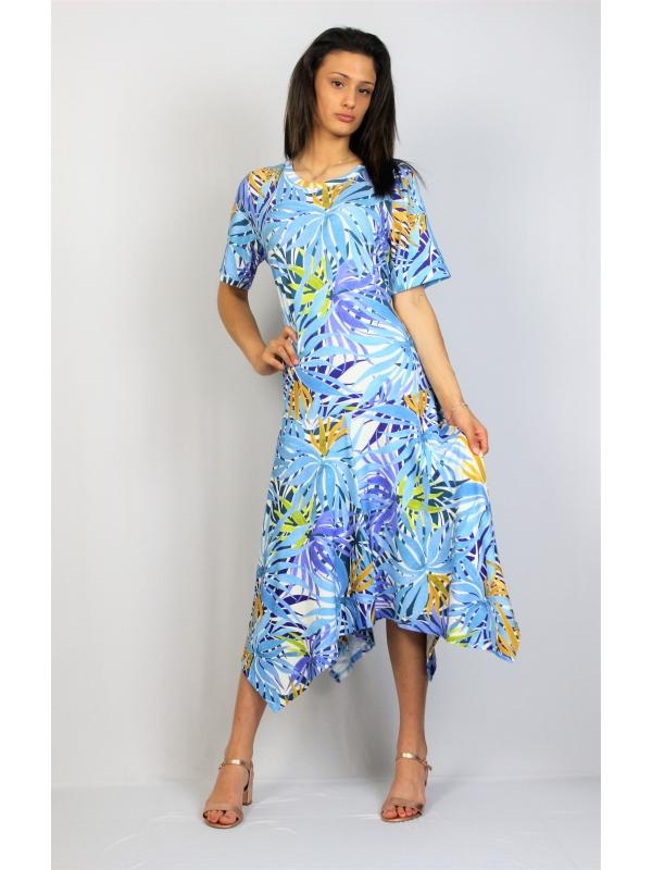 Асиметрична рокля в синьо