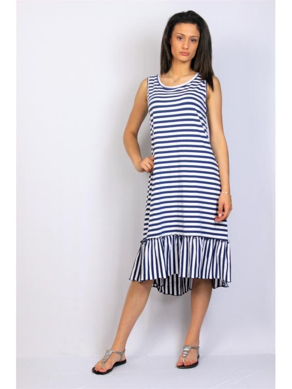 Асиметрична памучна рокля райе