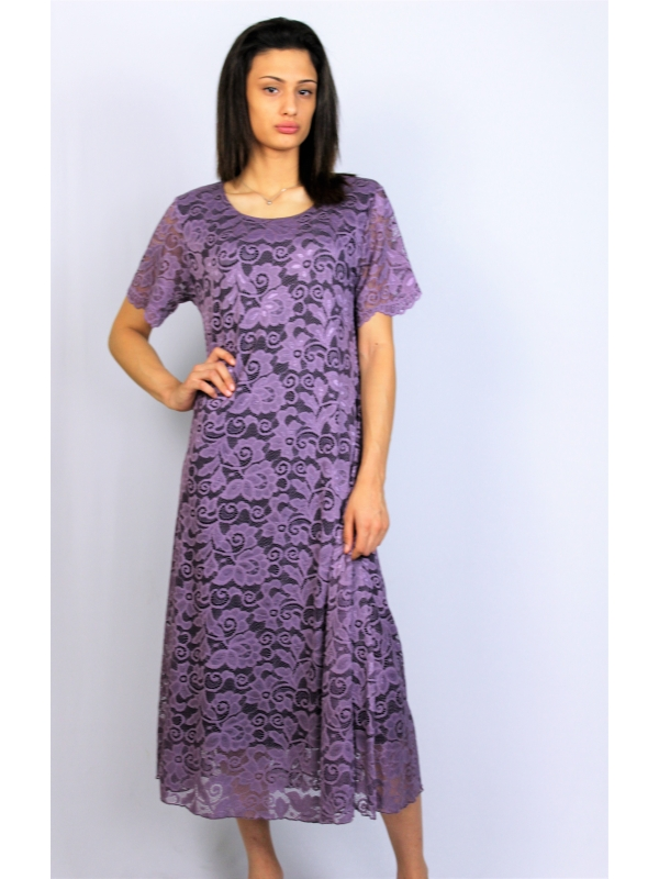 Дантелена рокля патладжан
