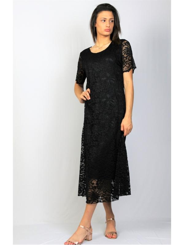 Дантелена рокля черна
