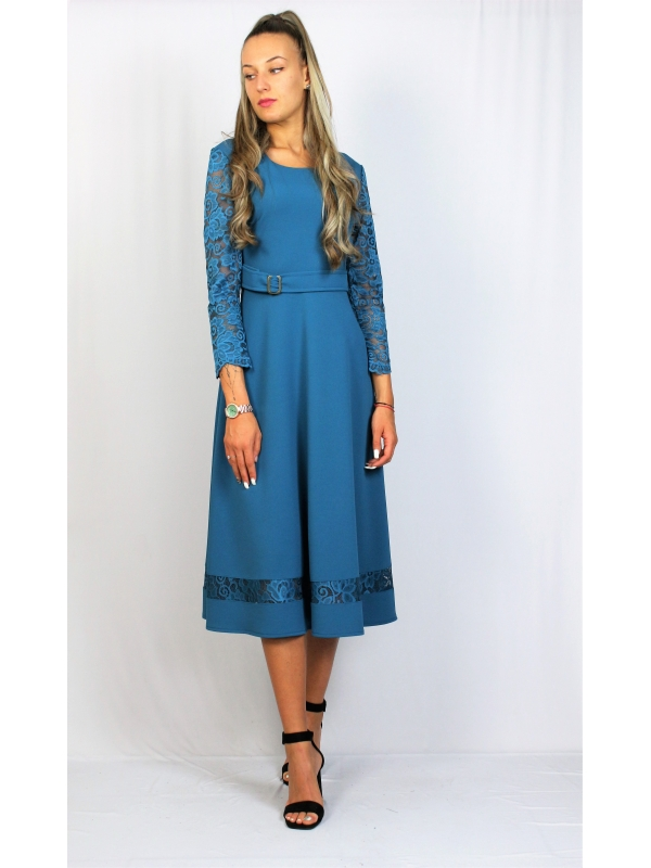 Разкроена рокля с колан петрол