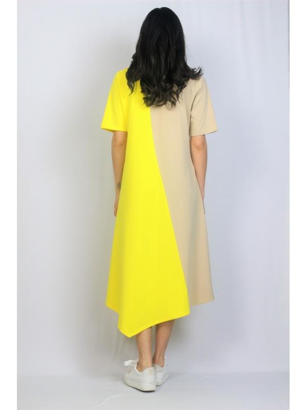 Асиметрична рокля жълто и бежово
