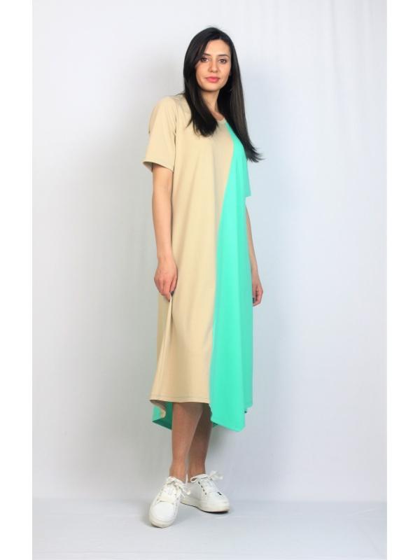 Асиметрична рокля зелено и бежово
