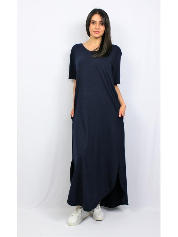 Дълга памучна рокля тъмносиня